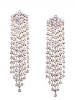 Sparkly Rhinestone Fringed Chain Earrings - Golden