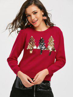 Sequined Trees Christmas Sweater - Red M