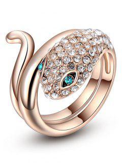 Sparkly Rhinestoned Snake Ring - Golden 8