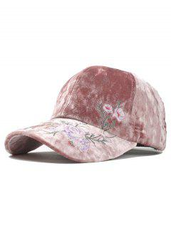 Outdoor Floral Embroidery Thicken Baseball Cap - Pink