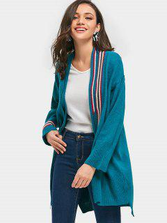 Layered Striped Open Cardigan - Peacock Blue