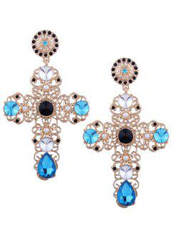 Rhinestone Faux Pearl Cross Teardrop Earrings - Blue
