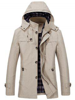 Detachable Hooded Coat - Light Khaki L
