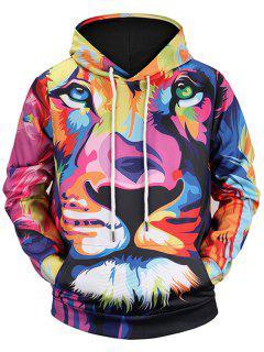 Colormix - Pull à Capuche Kangourou à Imprimé Lion - M
