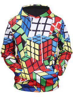 Sweat à Capuche Imprimé Rubik's Cube 3D Avec Poche Kangourou - M