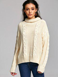 Drop Shoulder Cable Knit Turtleneck Sweater - Off-white Xl