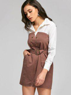 Contrast Belted Mini Shirt Dress - Dark Auburn