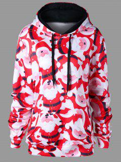 Christmas Plus Size Santa Claus Tunic Hoodie - Red With White Xl