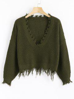 Loose Ripped V Neck Sweater - Army Green