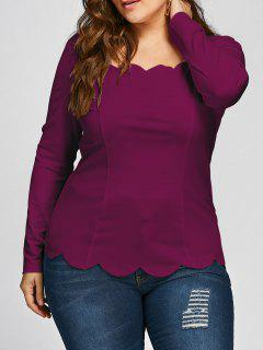 Plus Size Scalloped Square Neck Long Sleeve Top - Wine Red 5xl