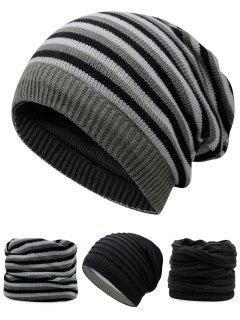 Ponytail Hole Embellished Reversible Crochet Knitted Beanie - Black
