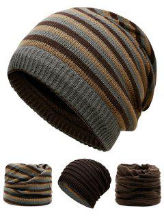 Ponytail Hole Embellished Reversible Crochet Knitted Beanie - Coffee