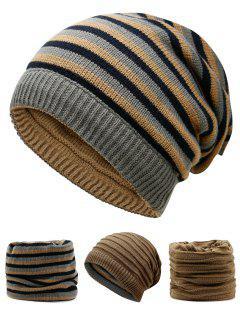 Ponytail Hole Embellished Reversible Crochet Knitted Beanie - Khaki