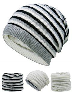 Ponytail Hole Embellished Reversible Crochet Knitted Beanie - Off-white