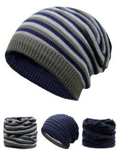 Ponytail Hole Embellished Reversible Crochet Knitted Beanie - Cerulean