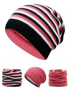 Ponytail Hole Embellished Reversible Crochet Knitted Beanie - Watermelon Red