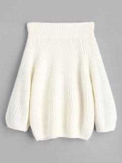 Chunky Off Shoulder Pullover Sweater - White