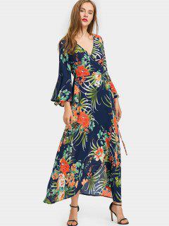 Robe Porte-feuille Longue à Feuilles Tropicales à Manches Cloches - Bleu Foncé S