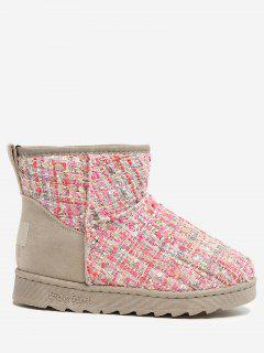 Slip On Suede Panel Ankle Snow Boots - Pink 38