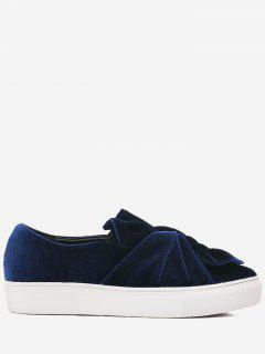 Cross Twist Front Velour Slip On Sneakers - Blue 38