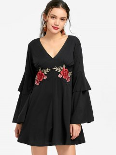 Flare Sleeve Flower Patched Mini Dress - Black L