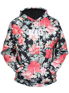 Kangaroo Pocket Tropical Floral Hoodie - 2xl