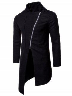 Stand Collar Asymmetrical Zip Up Coat - Black L