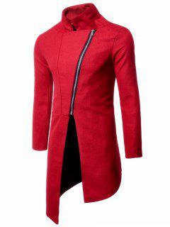 Collar Asimétrico Con Cremallera Y Cuello Alto - Rojo 2xl