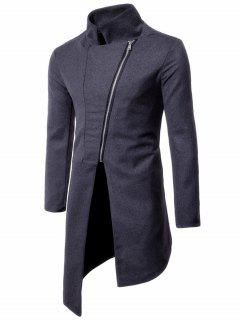 Stand Collar Asymmetrical Zip Up Coat - Gray L