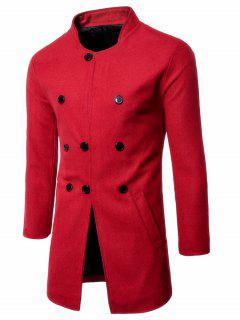 Single Breasted Stand Collar Wool Blend Coat - Red Xl