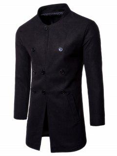 Single Breasted Stand Collar Wool Blend Coat - Black L
