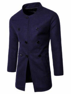 Single Breasted Stand Collar Wool Blend Coat - Purplish Blue L