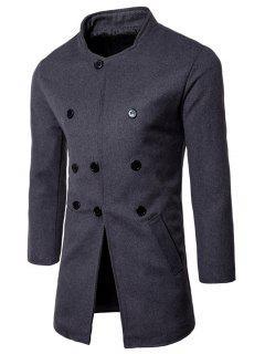 Manteau à Col Montant à Boutonnage Simple En Laine Mélangée - Gris Foncé Xl