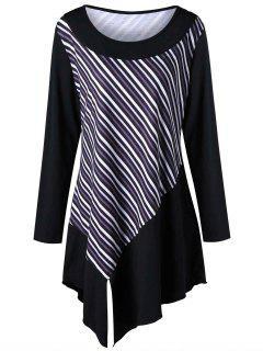 Robe T-shirt Rayée à Manches Longues Et Grande Taille - Noir 4xl