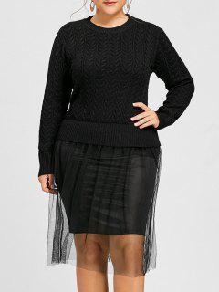 Plus Size Cable Knit Tulle Sweater Dress - Black 3xl