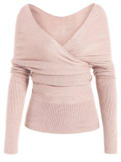 Plunging Neck Surplice Knitted Top - Light Pink M