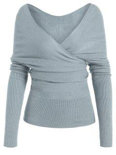 Plunging Neck Surplice Knitted Top - Blue Gray L
