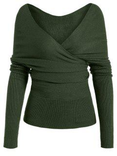 Plunging Neck Surplice Knitted Top - Army Green L