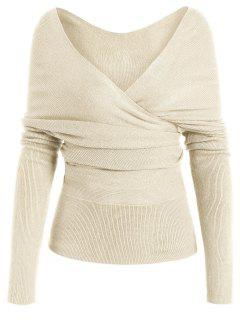 Plunging Neck Surplice Knitted Top - Apricot M