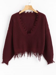 Loose Ripped V Neck Sweater - Wine Red
