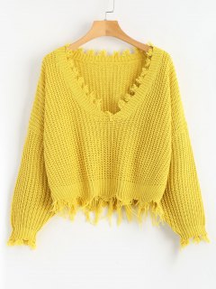 Loose Ripped V Neck Sweater - Amarillo