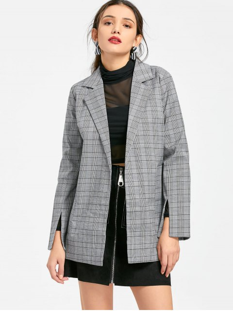 fancy Belted Checked Lapel Blazer - CHECKED M Mobile