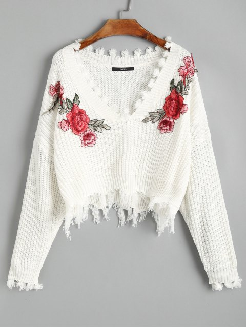 women V Neck Frayed Floral Embroidered Pullover Sweater - WHITE ONE SIZE Mobile