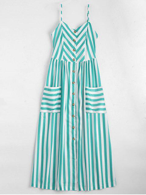 best Button Up Striped Cami Dress - LAKE GREEN XL Mobile