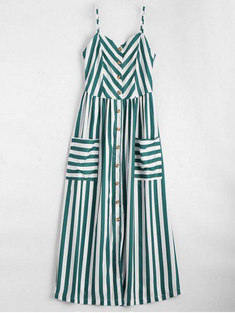 new Button Up Striped Cami Dress - BLACKISH GREEN L Mobile