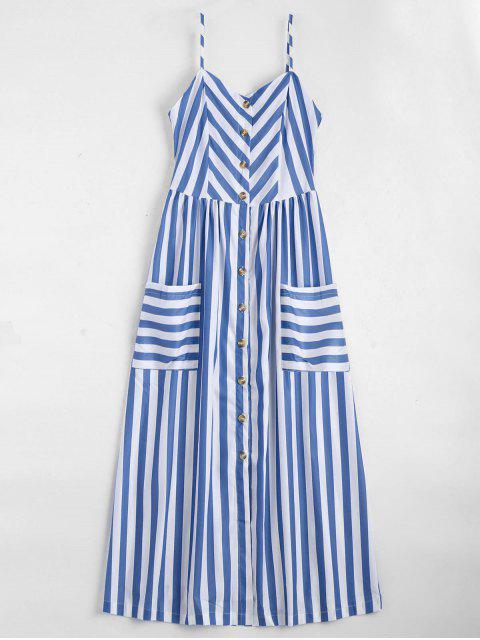 Gestreiftes Cami Kleid mit Knöpfe - Violet Blau  S Mobile