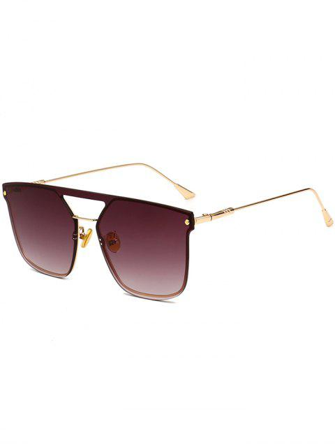 women's Retro Crossbar Embellished Metal Full Frame Sunglasses - GOLD FRAME+GREY LENS  Mobile