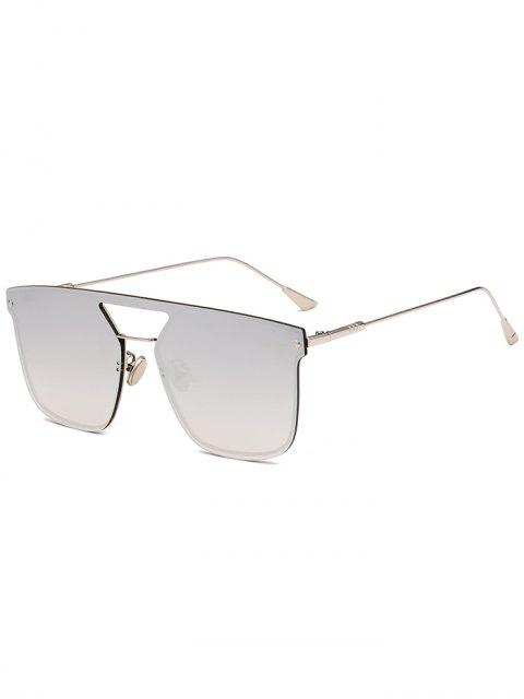 outfits Retro Crossbar Embellished Metal Full Frame Sunglasses - REFLECTIVE WHITE COLOR  Mobile