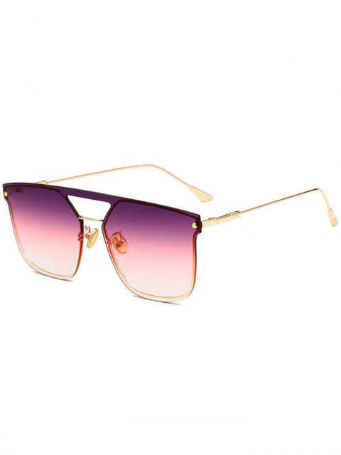 fancy Retro Crossbar Embellished Metal Full Frame Sunglasses - PURPLE  Mobile