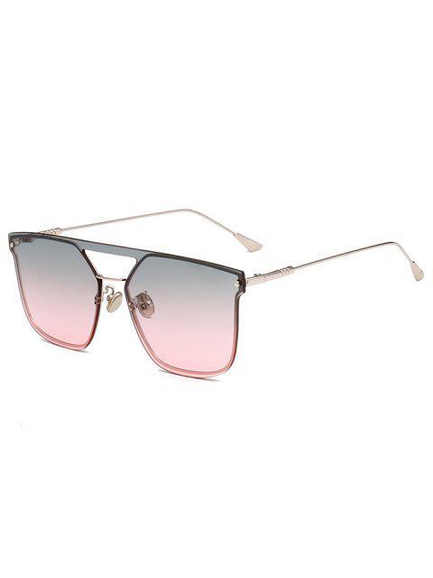 sale Retro Crossbar Embellished Metal Full Frame Sunglasses - LIGHT PINK  Mobile